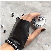 Аксессуары handmade. Livemaster - original item Black leather fingerless gloves with pearl beads, Avtoledi. Handmade.