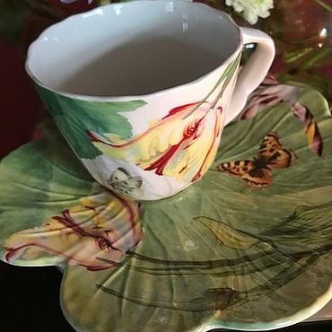 "Винтаж ручной работы. Ярмарка Мастеров - ручная работа Винтаж: Чайная пара ""Floran Haven"", Spode, Англия. Handmade."