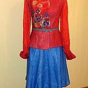 """Одежда ручной работы. Ярмарка Мастеров - ручная работа Валяная юбка """"Синяя """"  длинная шерсть. Handmade."""