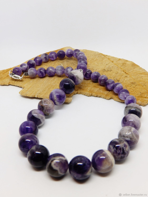 Amethyst beads Lilac patterns 42 cm, Beads2, Gatchina,  Фото №1