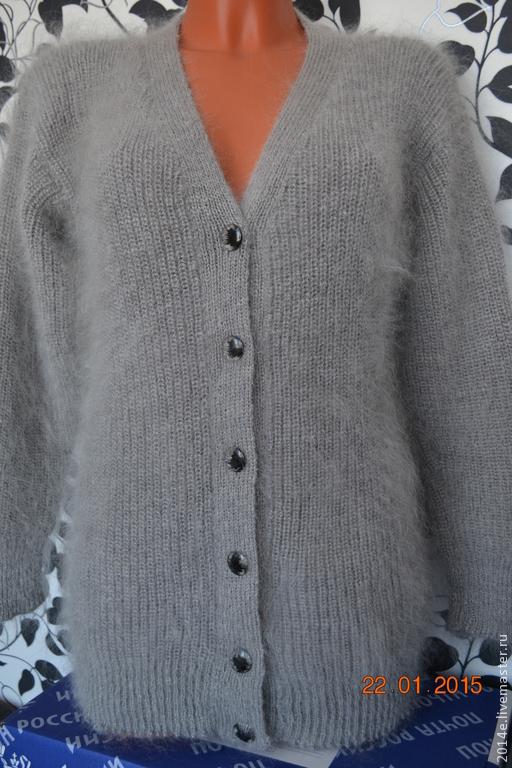 Кофты и свитера ручной работы. Ярмарка Мастеров - ручная работа. Купить Кофта вязанная пуховая женская. Handmade. Серебряный