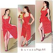 """Одежда ручной работы. Ярмарка Мастеров - ручная работа красное платье в горох """"Софи Лорен"""". Handmade."""