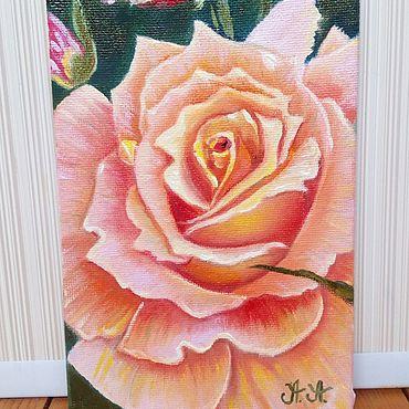 """Картины и панно ручной работы. Ярмарка Мастеров - ручная работа Картина """" Пудровая Роза"""" миниатюра масло холст. Handmade."""