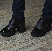 Обувь ручной работы handmade. Livemaster - original item Genuine leather and lacquered leather shoes London black. Handmade.