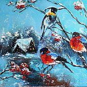 Картины и панно handmade. Livemaster - original item Bright birds bullfinches oil Painting. Handmade.