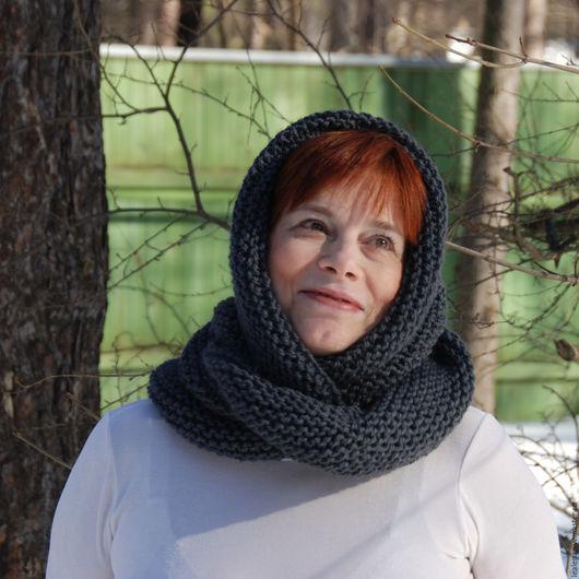 """Шарфы и шарфики ручной работы. Ярмарка Мастеров - ручная работа. Купить Снуд-шарф т-серый """"Туманность"""" (шерсть). Handmade."""