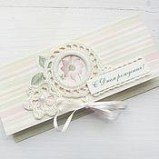 Конверт для денег С Днем рождения, розовый цветок