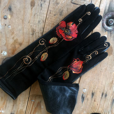 Accessories handmade. Livemaster - original item Long boho style natural black leather gloves with painted flower motif. Handmade.