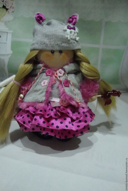 Куклы тыквоголовки ручной работы. Ярмарка Мастеров - ручная работа. Купить Яся-карамелька. Handmade. Розовый, игрушка ручной работы