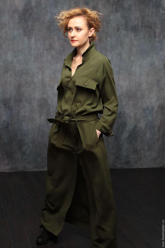"""Платья ручной работы. Ярмарка Мастеров - ручная работа. Купить Платье """"Милитари"""". Handmade. Хаки, длинное платье, тонкое платье"""