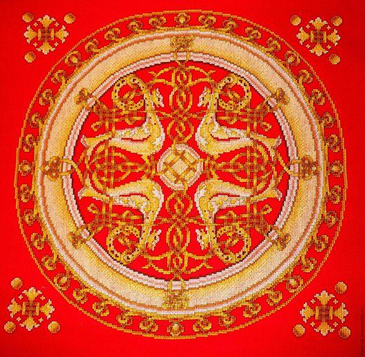 Текстиль, ковры ручной работы. Ярмарка Мастеров - ручная работа. Купить Славянское золото. Ручная вышивка. Handmade. Ярко-красный