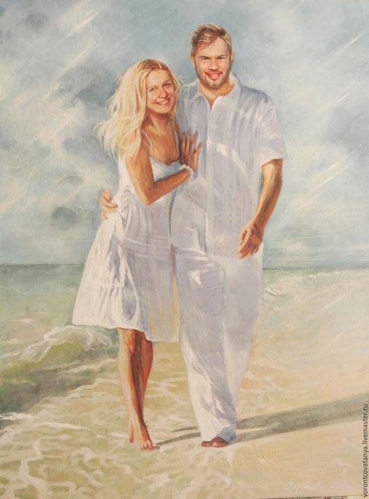 """Люди, ручной работы. Ярмарка Мастеров - ручная работа. Купить """"Счастье любить"""". Handmade. Голубой, мужчина и женщина, небо"""