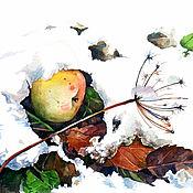 """Картины и панно ручной работы. Ярмарка Мастеров - ручная работа Акварель """"Яблоко на снегу №1"""". Handmade."""