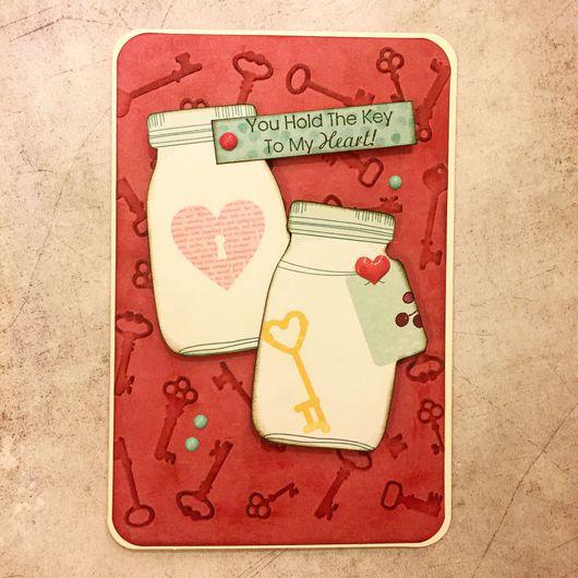 """Валентинки ручной работы. Ярмарка Мастеров - ручная работа. Купить Открытка """"Ты держишь ключ от моего сердца"""". Handmade."""
