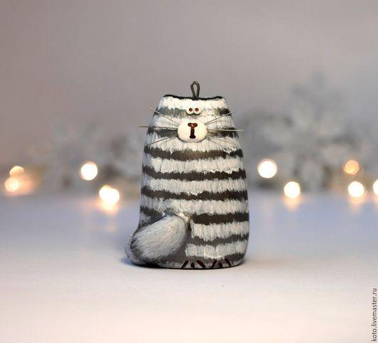 Новый год 2017 ручной работы. Ярмарка Мастеров - ручная работа. Купить Новогодняя ёлочная игрушка Кот Веня. Handmade. Серый