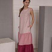 Одежда handmade. Livemaster - original item Gradient linen dress with wings in pink. Handmade.