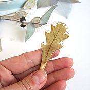 Украшения handmade. Livemaster - original item Wooden hairpin made of ash with a real Oak leaf Eco. Handmade.
