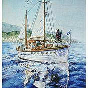 Картины и панно ручной работы. Ярмарка Мастеров - ручная работа Корабль в море акварелью. Handmade.