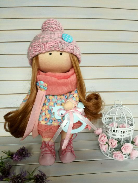 Куклы тыквоголовки ручной работы. Ярмарка Мастеров - ручная работа. Купить Текстильная интерьерная кукла. Розовая кукла.. Handmade. Розовый, для себя