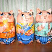"""Русский стиль ручной работы. Ярмарка Мастеров - ручная работа матрешечки  """"Три поросёнка"""". Handmade."""
