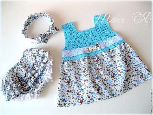 Для новорожденных, ручной работы. Ярмарка Мастеров - ручная работа. Купить Платье для девочки. Handmade. Голубой, платье для девочки