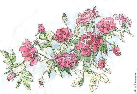 Картины цветов ручной работы. Ярмарка Мастеров - ручная работа. Купить Шиповник. Handmade. Фуксия, цветок, Живопись, растение, прованс