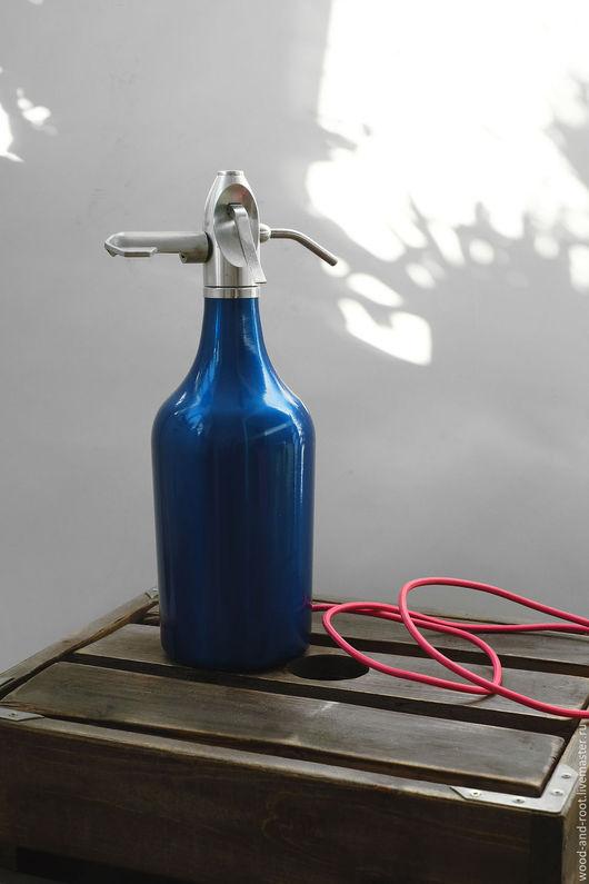 Освещение ручной работы. Ярмарка Мастеров - ручная работа. Купить Настольная лампа из сифона для газирования напитков. Handmade. Тёмно-бирюзовый