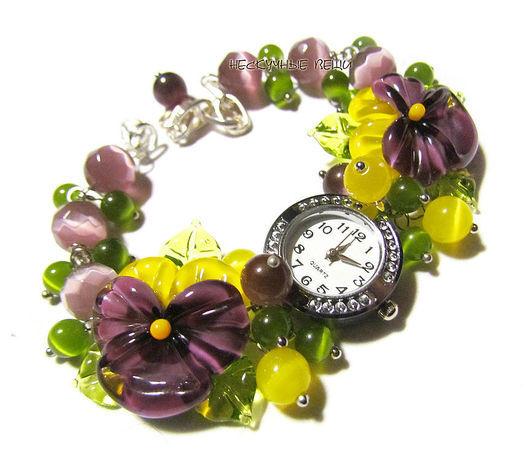 """Часы ручной работы. Ярмарка Мастеров - ручная работа. Купить Часы """"Фиалки"""". Handmade. Часы, часы-браслет, анютины глазки"""