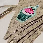 Для дома и интерьера ручной работы. Ярмарка Мастеров - ручная работа LOVE+CUPCAKE, текстильная гирлянда. Handmade.