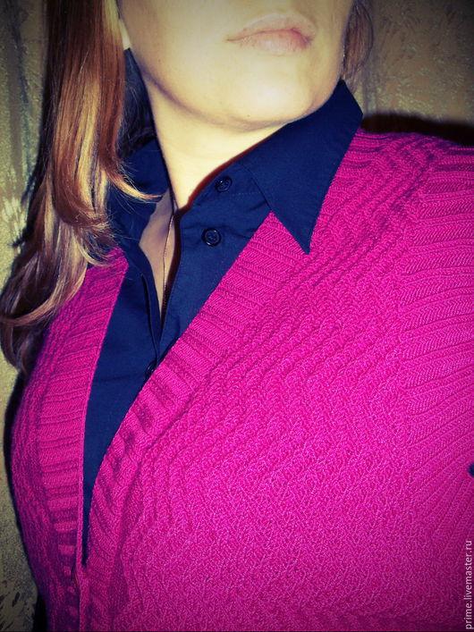 """Большие размеры ручной работы. Ярмарка Мастеров - ручная работа. Купить Вязаный жилет """"Баланс"""". Handmade. Фуксия, для женщины, теплый"""