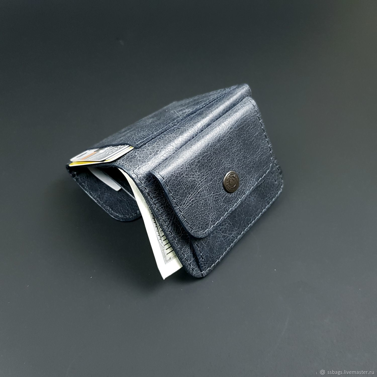 Wallet small leather. Purse in his pocket. Grey pul-ap, Wallets, St. Petersburg,  Фото №1