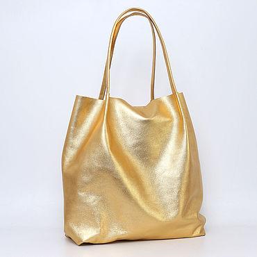 Bags and accessories handmade. Livemaster - original item Golden Tote shopper Bag medium Coffee with milk. Handmade.