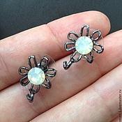 Материалы для творчества handmade. Livemaster - original item Earrings with white crystal, art. 1-1. Made In Italy. Handmade.