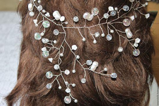 Свадебные украшения ручной работы. Ярмарка Мастеров - ручная работа. Купить Веточка для волос посеребренная для невесты. Handmade. Белый