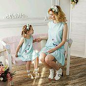 Работы для детей, handmade. Livemaster - original item Vestidos de Femililuk con estampado de helado. El mismo vestido de la mamá y la hija. Handmade.