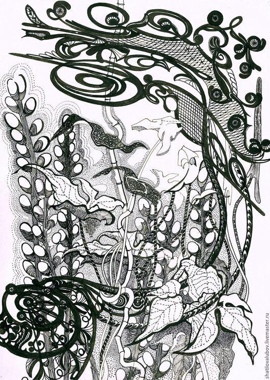 """Картины цветов ручной работы. Ярмарка Мастеров - ручная работа. Купить """"Верба"""". Handmade. Чёрно-белый, картина для интерьера, на стену"""