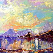 """Картины и панно ручной работы. Ярмарка Мастеров - ручная работа """"Закат на море"""" - пейзаж маслом с горами. Handmade."""