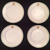 Винтаж ручной работы. Ярмарка Мастеров - ручная работа РЕЗЕРВ Набор из 4-х больших тарелок с монограммой, братья Корниловы. Handmade.