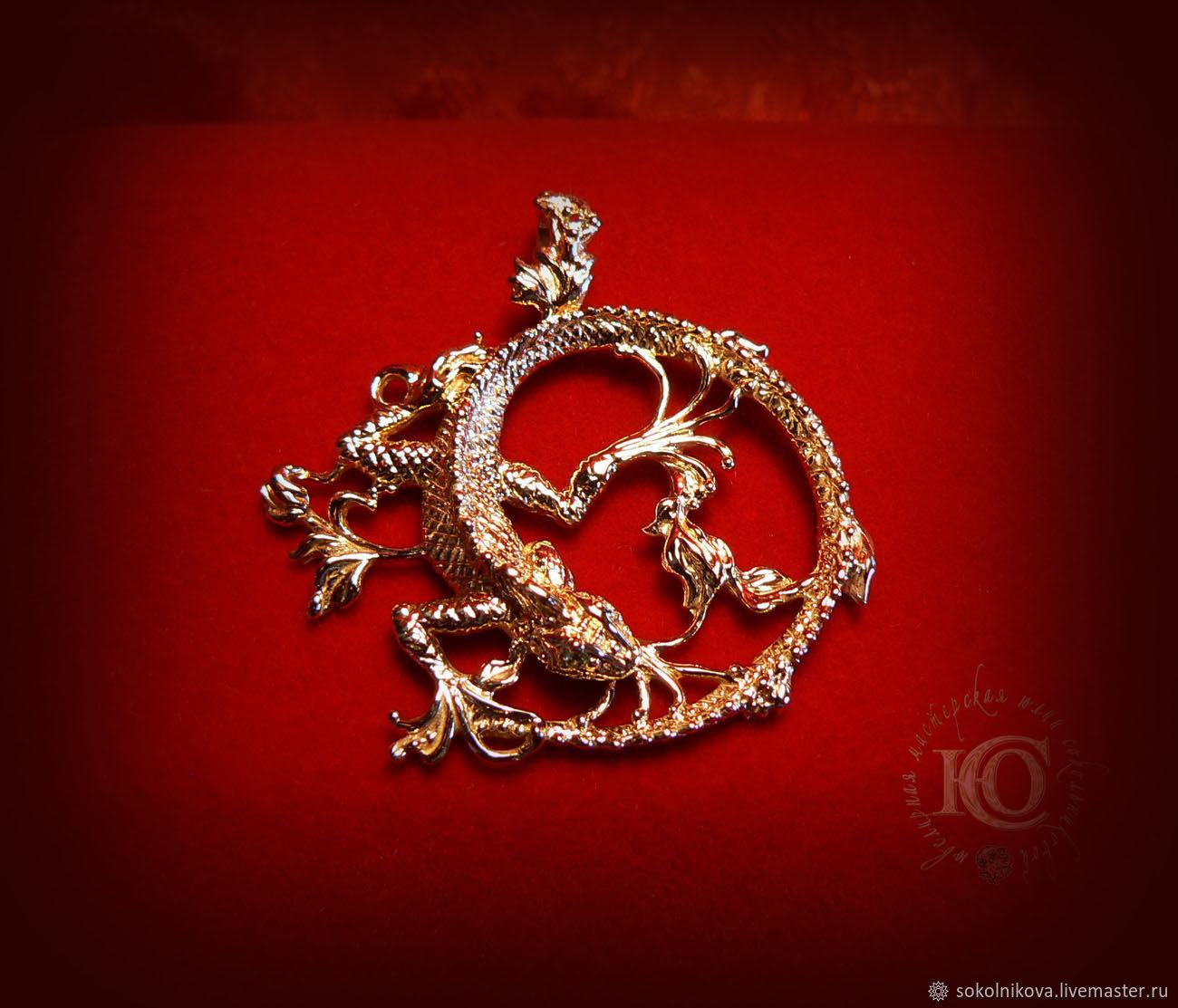 Кулон `Ящерка`. Золото 585 пробы, хризолиты.
