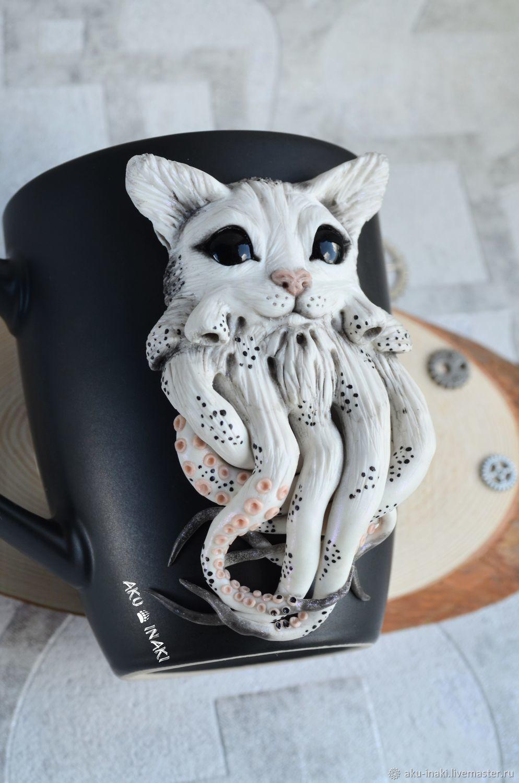 Cthulhu Cat Mug With Polymer Clay Decor Handmade Zakazat Na Yarmarke Masterov Lymt6com Kruzhki I Chashki Tula