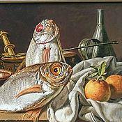 Картины и панно handmade. Livemaster - original item Still life with red bream and oranges/ acrylic canvas/ 35h50 cm. Handmade.
