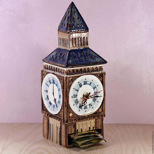 """Кухня ручной работы. Ярмарка Мастеров - ручная работа. Купить Чайница фарфоровая для пакетиков с часами """"Five o'clock"""". Handmade. Часы"""