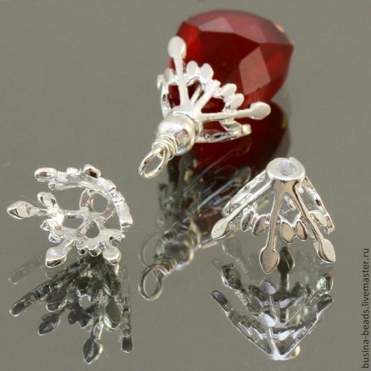 Шапочки для бусин ажурные из латуни с покрытием имитирующим светлое серебро для использования в сборке украшений парой\r\nИдеально подходят для бусин плоская капля
