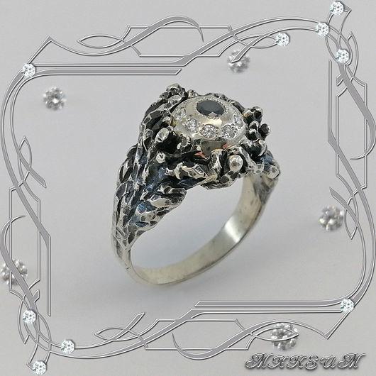 Ring 'Oko-black' 925 sterling silver, cubic Zirconia, Rings, St. Petersburg,  Фото №1