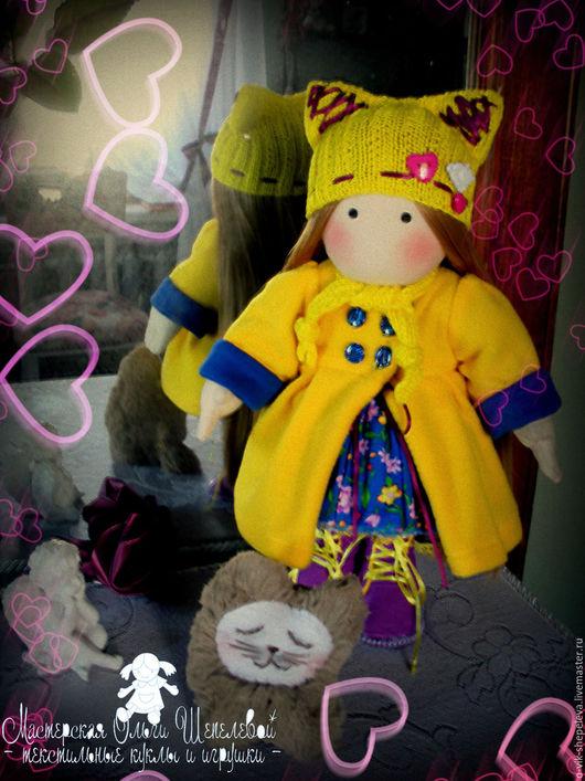 Коллекционные куклы ручной работы. Ярмарка Мастеров - ручная работа. Купить Игровая текстильная кукла Киса. Handmade. Голубой
