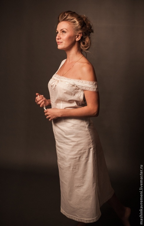 Белье ручной работы. Ярмарка Мастеров - ручная работа. Купить Нижняя рубашка женская. Handmade. Белый, нижнее белье, ретро