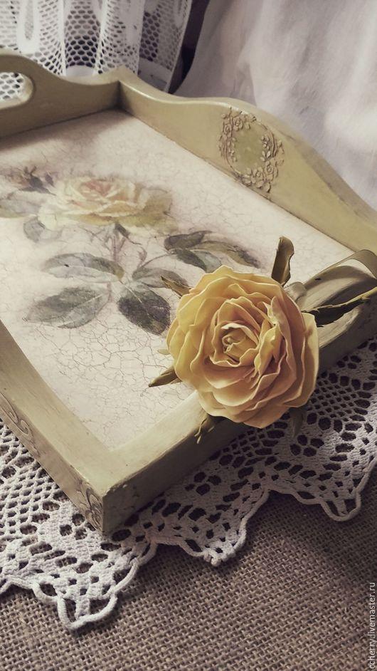 """Кухня ручной работы. Ярмарка Мастеров - ручная работа. Купить Поднос"""" Vintage menthe rose..."""". Handmade. Мятный, поднос"""