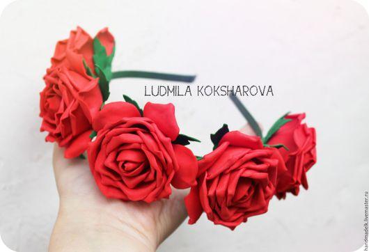 """Диадемы, обручи ручной работы. Ярмарка Мастеров - ручная работа. Купить Ободок """"Красные розы"""". Handmade. Ярко-красный, березники"""