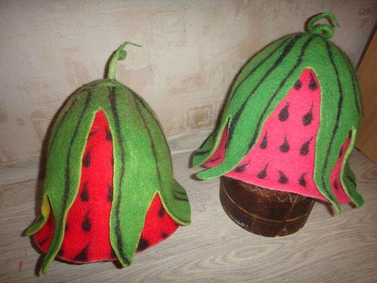 """Шапки ручной работы. Ярмарка Мастеров - ручная работа. Купить Валяная шапка  для бани """"Арбузик"""". Handmade. Тёмно-зелёный"""