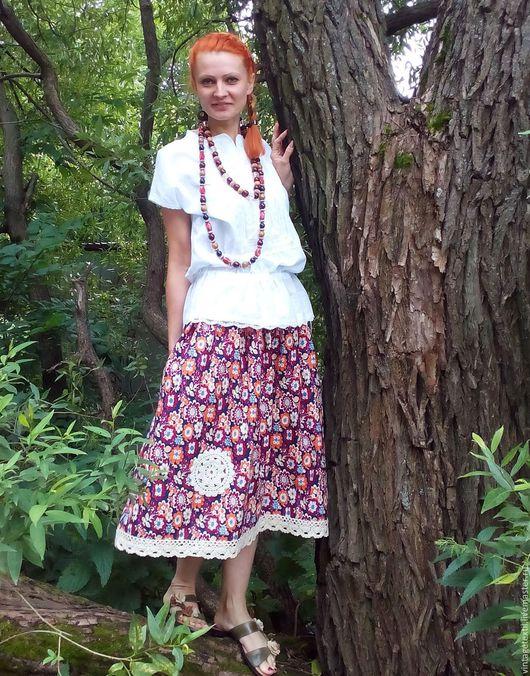Одежда. Ярмарка Мастеров - ручная работа. Купить Юбочка из винтажного хлопка  на лето в стиле бохо. Handmade. Комбинированный, бохо